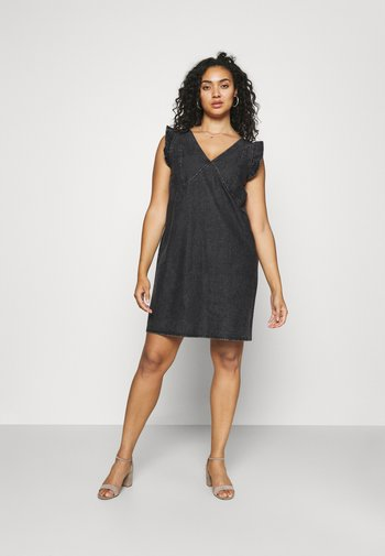 PCLUA MINI DRESS - Robe en jean - black