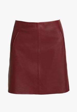SLFNINI SKIRT - Leather skirt - cabernet