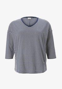 navy ecru horizontal stripe