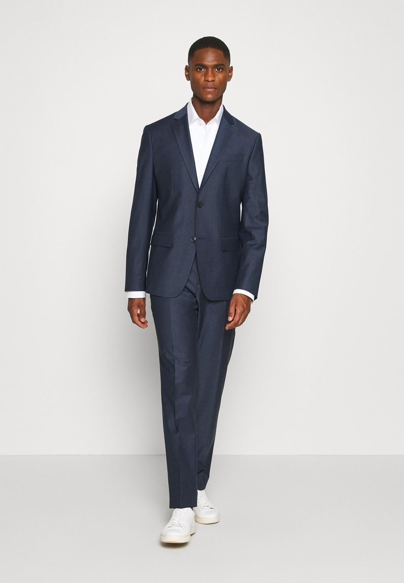 Calvin Klein Tailored - STRETCH SMALL GRID SUIT - Trousers - blue