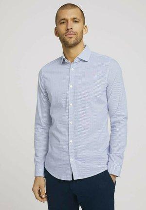 Formal shirt - white navy wave design