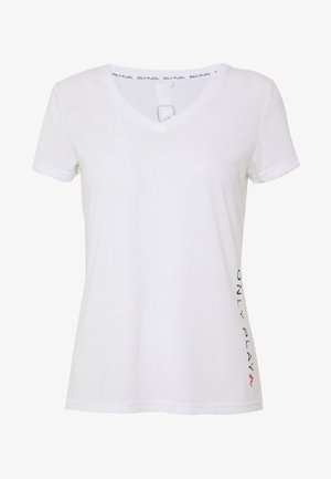 V NECK - Camiseta estampada - white/black/red