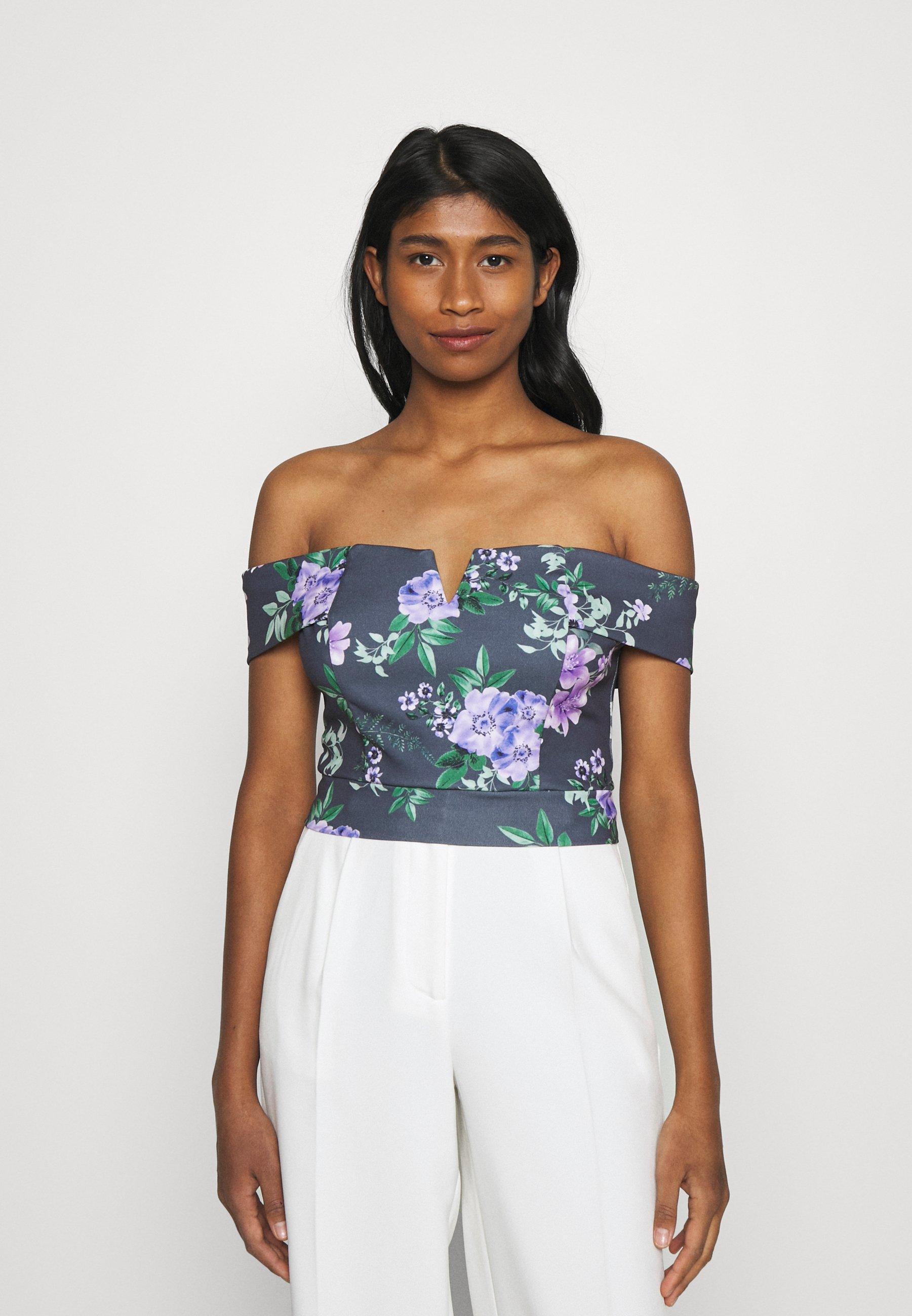 Femme LANCE FLORAL CROP - T-shirt imprimé