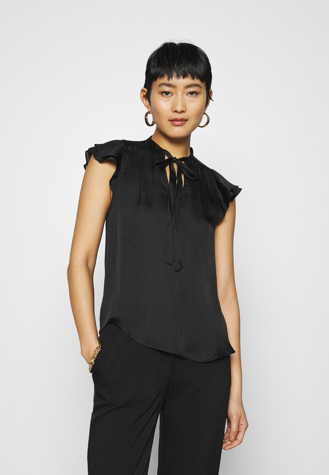 FLUTTER SLEEVE TIE NECK SOLIDS - T-shirts basic - black