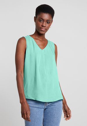 SLEEVELESS BLOUSE WITH V NECK - Bluse - green