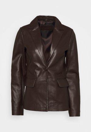 AMBER - Leather jacket - dark brown