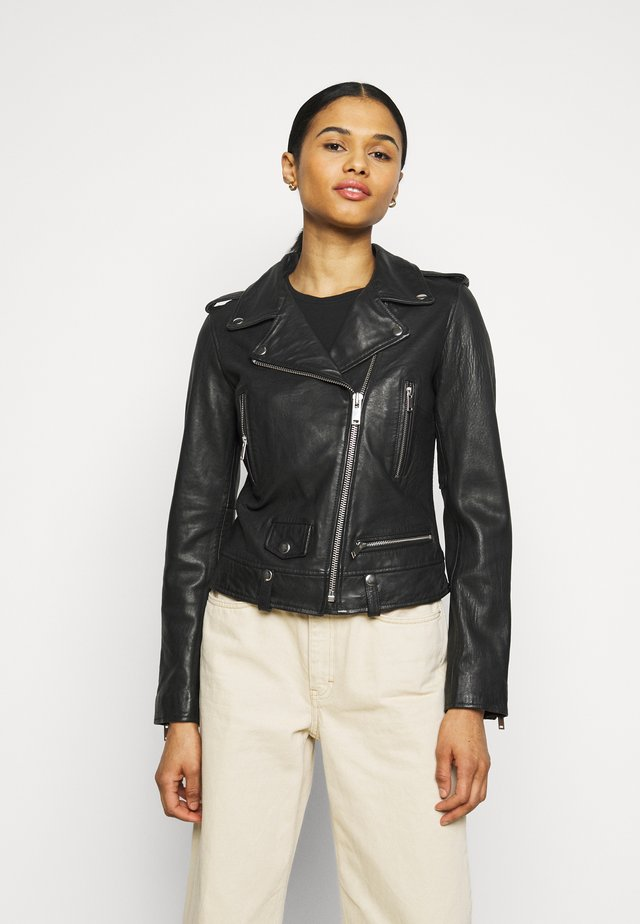 MICHELLE BIKER - Leather jacket - black