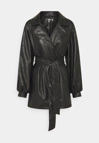 Missguided - BELTED BALLOON SLEEVE JACKET - Short coat - black - 0
