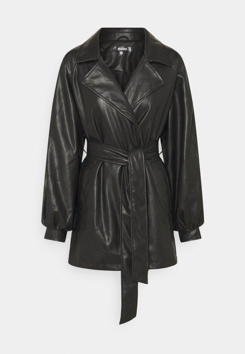 Missguided - BELTED BALLOON SLEEVE JACKET - Short coat - black