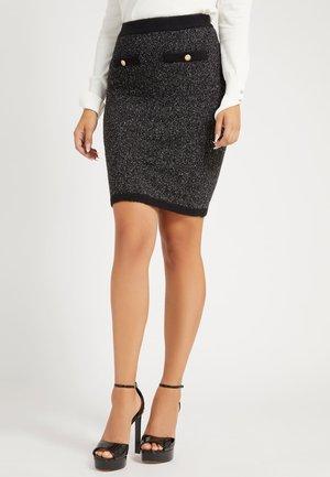 ROCK COLORBLOCK - Pencil skirt - schwarz