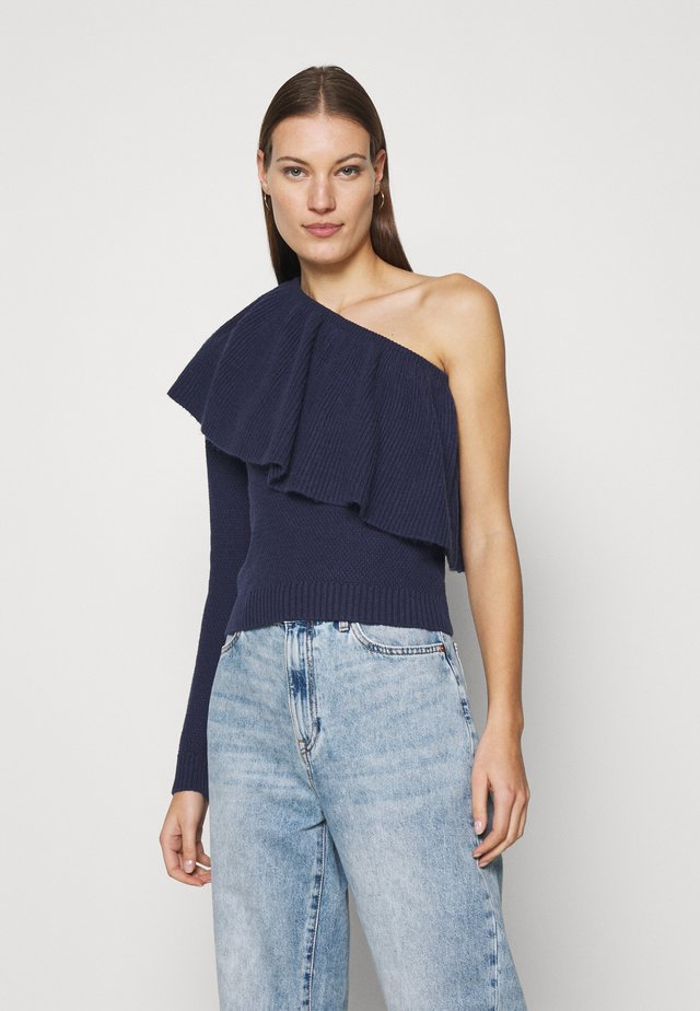 ONE SHOULDER RUFFLE - Jumper - navy