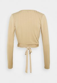 Missguided Tall - WRAP FRONT TIE WAIST CROP - Long sleeved top - sand - 1