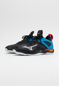 Mizuno - WAVE MIRAGE 3 - Handball shoes - black/white/diva blue