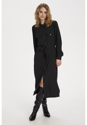 Shirt dress - black pinstripe