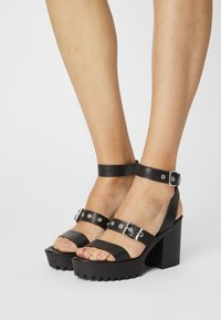 Even&Odd - LEATHER - High heeled sandals - black - 0