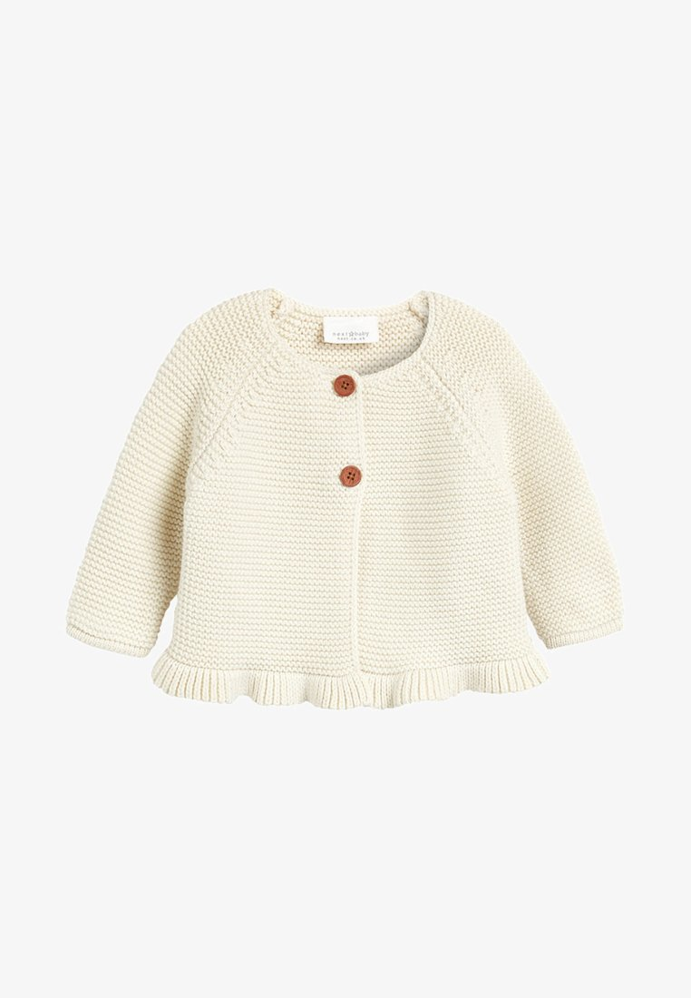 Next - PINK FRILL HEM - Cardigan - off-white