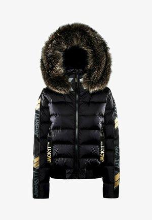 CHEVRON   - Down jacket - black/wet black/gold
