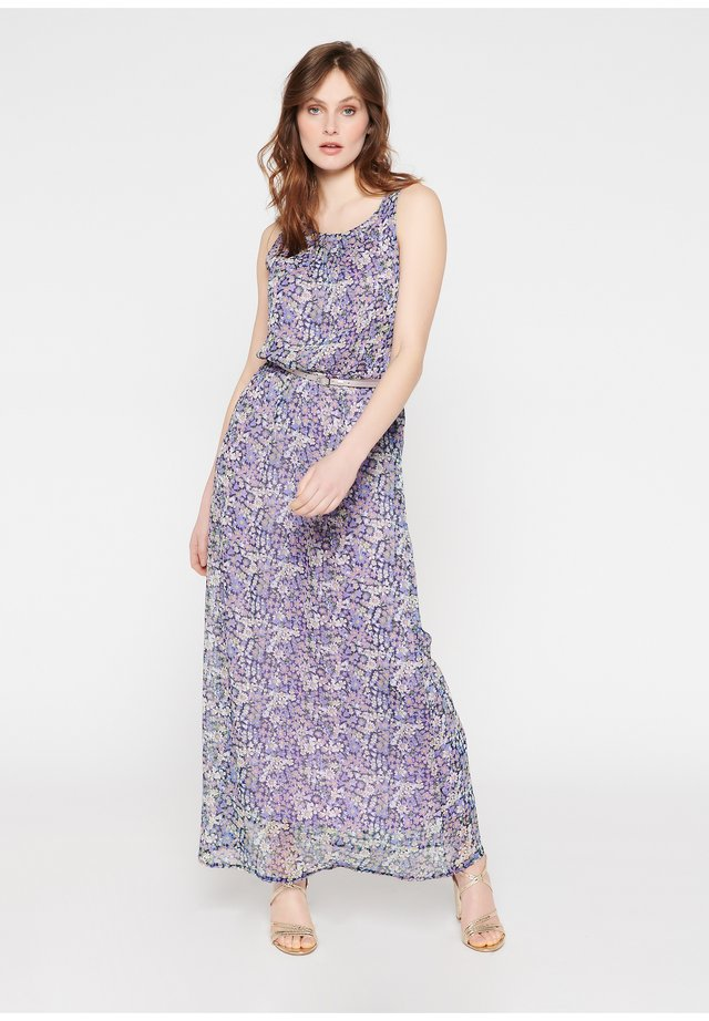 WITH FLOWERS AND BELT - Maxi-jurk - purple