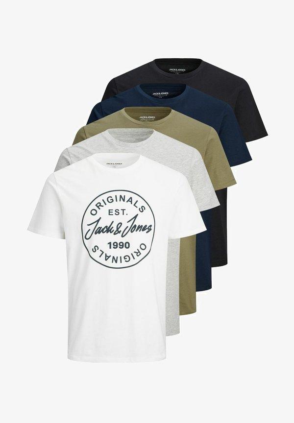 Jack & Jones 5ER-PACK - T-shirt z nadrukiem - white/biały Odzież Męska JHVT