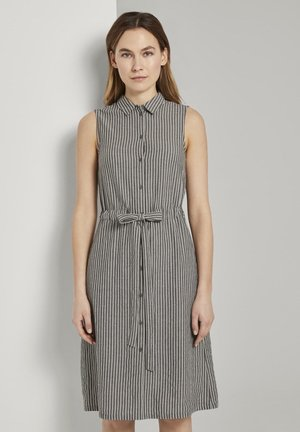 DRESS STYLE WITH STRIPES - Shirt dress - black small stripes