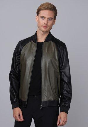 Leather jacket - black/khaki