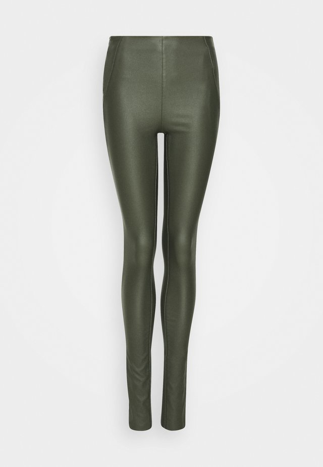 OBJBELLE COATED - Trousers - forest night