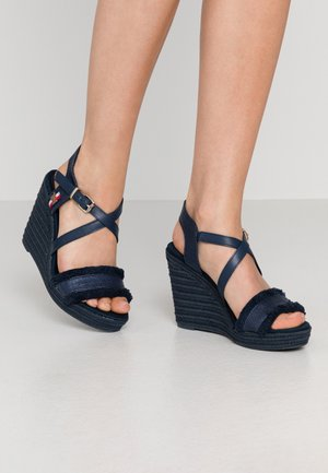 FRINGES HIGH WEDGE  - High heeled sandals - sport navy