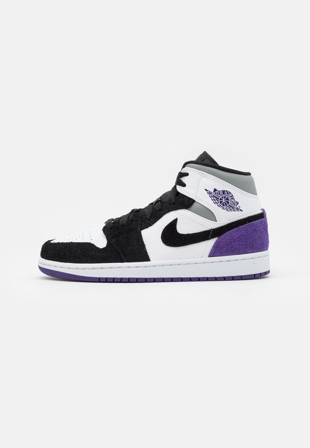 AIR 1 MID SE - Sneakers hoog - white/court purple/black/particle grey/hot punch