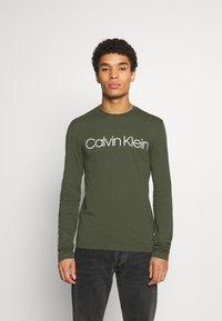 Calvin Klein - LONG SLEEVE 2 PACK - Long sleeved top - black/dark green - 2