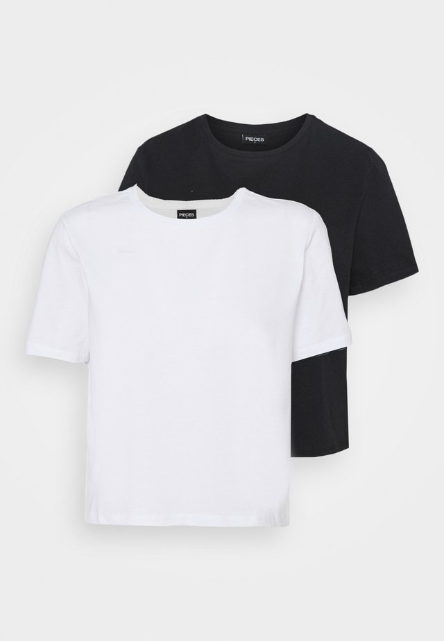 PCRINA CROP 2 PACK - Jednoduché triko - black/white