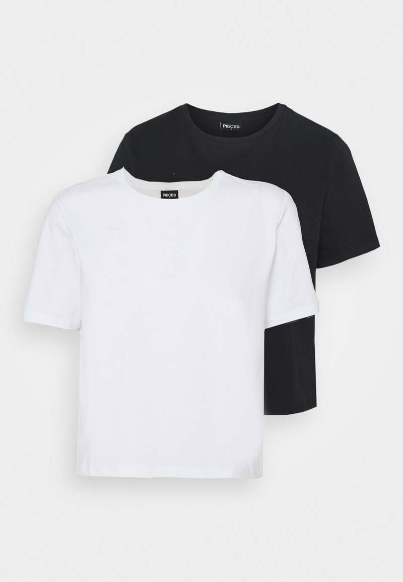 Pieces - PCRINA CROP 2 PACK - Camiseta básica - black/white