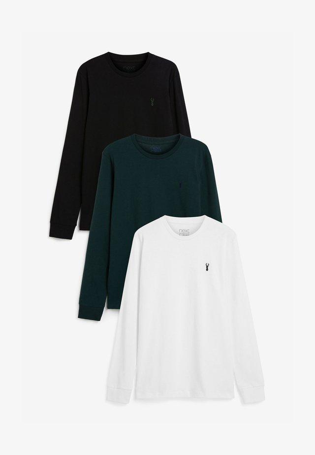 3PACK - Top sdlouhým rukávem - black, green, white