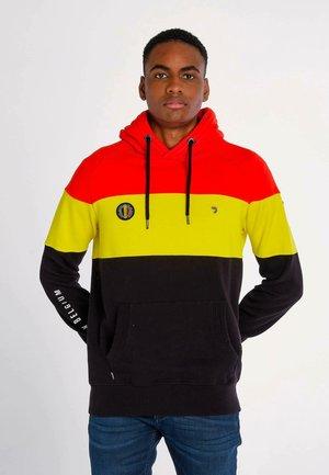 Sweat à capuche - black, red, yellow