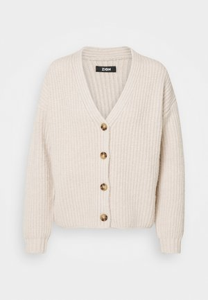CHUNKY WOOL BLEND CARDIGAN - Strickjacke - camel