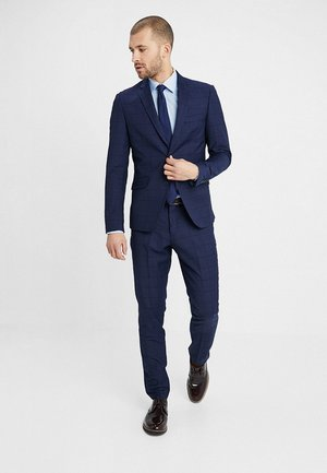 CHECKED SUIT SLIM - Suit - dark blue