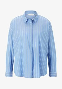 TOM TAILOR DENIM - Button-down blouse - mid blue small white stripe - 4
