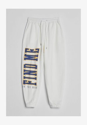 MIT PRINT - Tracksuit bottoms - white