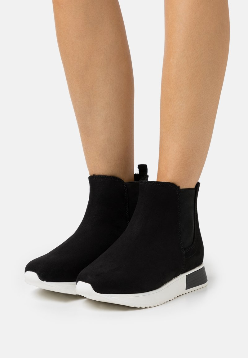 River Island Wide Fit - Platform ankle boots - black