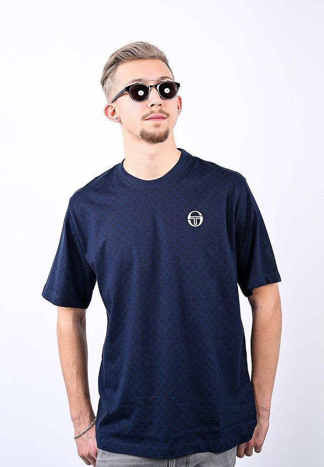 DIN  - T-shirt con stampa - navy/white
