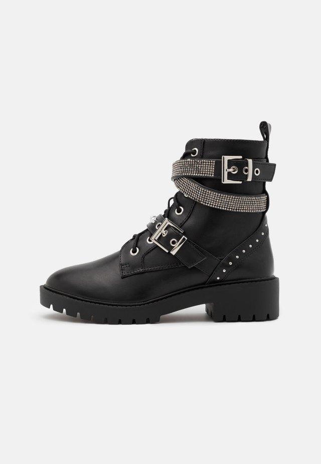 BLING LACE UP - Cowboy/biker ankle boot - black