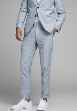 LINEN MIXED FIBER SUIT PANTS - Suit trousers - light blue