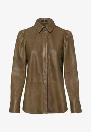 LEDERBLUSE LANGARM - Button-down blouse - khaki