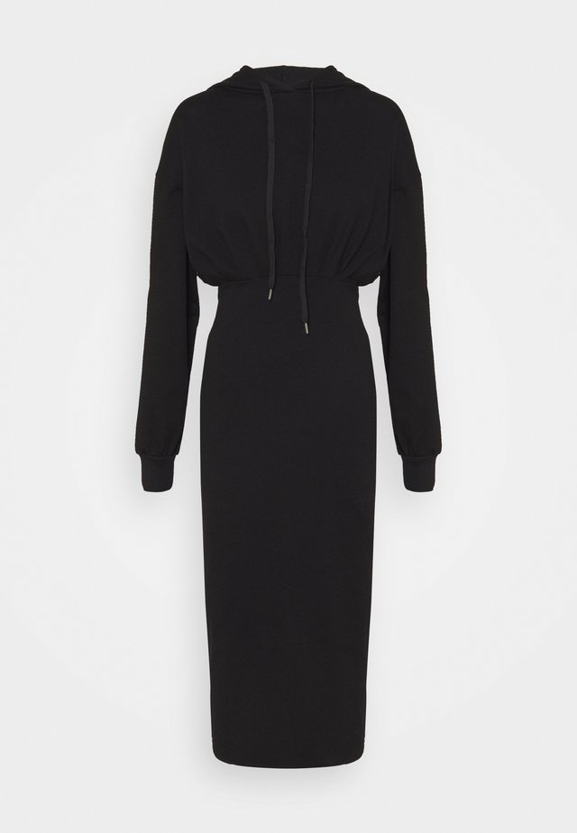CASSIE HOODED LOUNGE DRESS - Korte jurk - black
