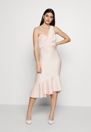 STRIPE ONE SHOULDER FRILL MIDI DRESS - Sukienka koktajlowa - blush
