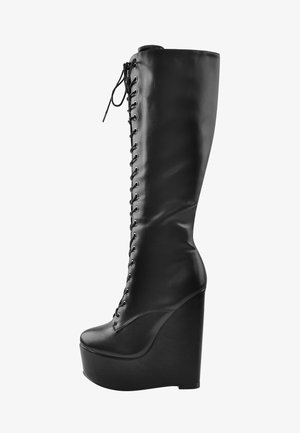 Laarzen met sleehak - black