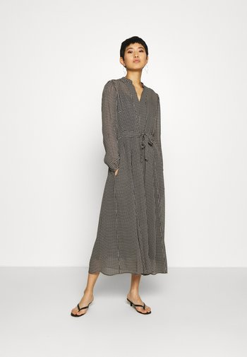 DRESS LONG STYLE BELTED WAIST DETAILED NECKLINE