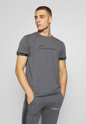 SCRIPT HIDDEN BAND TEE - T-shirt con stampa - grey