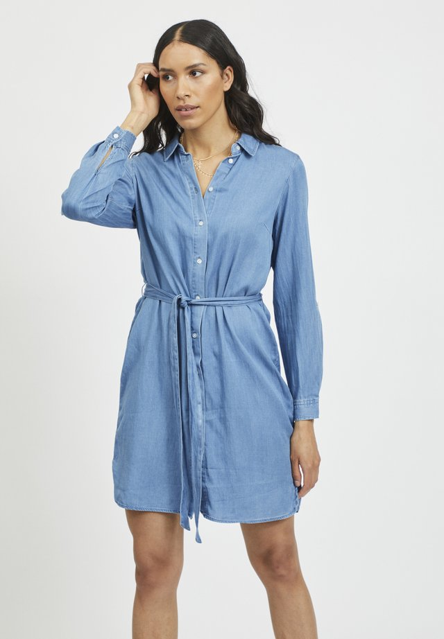 VIBISTA BELT DRESS - Shirt dress - medium blue denim/clean wash