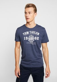 TOM TAILOR - BASIC 2 PACK - T-shirt z nadrukiem - real navy blue/white - 1