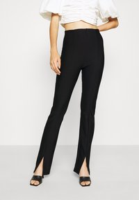 Gina Tricot - FRONT SLIT TROUSERS - Trousers - black - 0